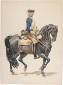 """Photo 3 : Condé cavalerie, 4 aquarelles originales par Lucien ROUSSELOT d'après """"La Sabretache"""", collection CARLET."""