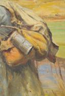 LALAUZE ALPHONSE : HUILE SUR TOILE, POILU DE LA GUERRE 1914-1918. (3)