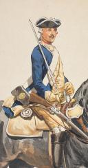 """Photo 4 : Condé cavalerie, 4 aquarelles originales par Lucien ROUSSELOT d'après """"La Sabretache"""", collection CARLET."""