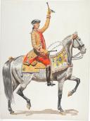 """Photo 5 : Condé cavalerie, 4 aquarelles originales par Lucien ROUSSELOT d'après """"La Sabretache"""", collection CARLET."""