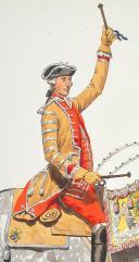 """Photo 6 : Condé cavalerie, 4 aquarelles originales par Lucien ROUSSELOT d'après """"La Sabretache"""", collection CARLET."""