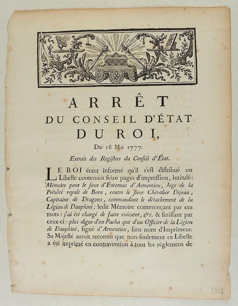arr t du conseil d 39 tat du roi du 16 mai 1777 2 pages. Black Bedroom Furniture Sets. Home Design Ideas