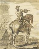 Photo 1 : GRAVURE EN NOIR ET BLANC PAR PAROCEL : CAVALIER DU 18ème SIÈCLE.