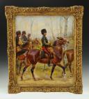 LALAUZE ALPHONSE : Officier des Guides de l'Armée Royale Belge en petite tenue, Huile sur toile datée 1922, vers 1880-1900, Règne de Léopold II.