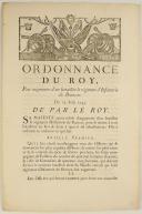 ORDONNANCE DU ROY, pour augmenter d'un bataillon le régiment d'Infanterie de Brancas. Du 25 août 1745. 3 pages (1)