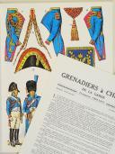 """Photo 1 : L'ARMÉE FRANÇAISE Planche N° 45 : """"GRENADIERS À CHEVAL DE LA GARDE - TROMPETTES - 1804-1815"""" par Lucien ROUSSELOT et sa fiche explicative."""