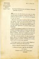 INSTRUCTION DU MINISTRE DE LA GUERRE LE DUC DE FELTRE CONCERNANT LES DRAPEAUX ET UNIFORMES DES PORTE-AIGLES DE RÉGIMENTS D'INFANTERIE PREMIER EMPIRE, 1812.