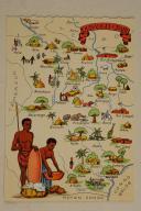 Carte postale mise en couleurs représentant la région du «OUBANGUI-CHARI».