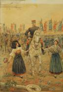 Photo 2 : JOB : DESSIN AQUARELLÉ, Le général Joffre lors de la libération de l'Alsace, 1914-1918, Première Guerre Mondiale.