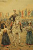 Photo 3 : JOB : DESSIN AQUARELLÉ, Le général Joffre lors de la libération de l'Alsace, 1914-1918, Première Guerre Mondiale.