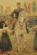 Photo 4 : JOB : DESSIN AQUARELLÉ, Le général Joffre lors de la libération de l'Alsace, 1914-1918, Première Guerre Mondiale.
