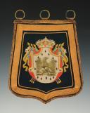 REPRODUCTION D'UNE SABRETACHE DE CHASSEURS À CHEVAL DE LA GARDE IMPÉRIALE, modèle Premier Empire, XXème siècle.