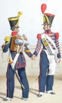 Photo 2 : 1822 Infanterie de ligne. Caporal-Fourrier de voltigeurs, tembour de grenadier, fusiliers