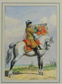 ROUSSELOT LUCIEN : TROMPETTE DU RÉGIMENT DE GESVRES, 1730, AQUARELLE ORIGINALE, DÉBUT 20ème SIÈCLE. (3)
