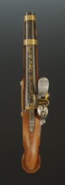 Photo 4 : PISTOLET DES GARDES DU CORPS DE LA MAISON MILITAIRE DU ROI, premier modèle, 1814-1816, PREMIÈRE RESTAURATION.