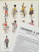 """L'ARMÉE FRANÇAISE Planche N° 97 : """"CHASSEURS À CHEVAL - Trompettes - 1804-1815"""" par Lucien ROUSSELOT et sa fiche explicative. (1)"""