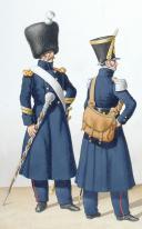 Photo 2 : 1822 Infanterie de ligne. Tambour-Major, Capitaine Adjudant-Major, Sergent-Major de Fusiliers