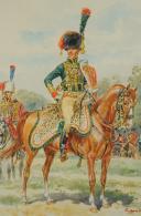 Photo 3 : LELIEPVRE Eugène, CAPITAINE DE CHASSEURS À CHEVAL DE LA GARDE IMPÉRIALE, PREMIER EMPIRE, AQUARELLE ORIGINALE.