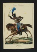 Photo 1 : MARTINET, GRAVURE REHAUSSÉE EN COULEURS : HUSSARD DU 2ème RÉGIMENT, PREMIER EMPIRE.