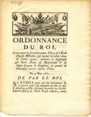 Photo 1 : ORDONNANCE DU ROI DU 4 MARS 1761 CONCERNANT LES GENTILHOMMES-ÉLÈVES DE L'ÉCOLE ROYALE MILITAIRE ADMIS DANS LES ORDRES MILITAIRES ET HOSPITALIERS DE NOTRE-DAME DU MONT-CARMEL, RÉVOLUTION.