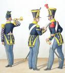 Photo 2 : 1824Infanterie de ligne. Clairon de Voltigeurs, Sergent-Fourrier de Fusilliers, Sergent-Major de Grenadiers (12è Régiment).