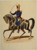 ROUSSELOT Lucien AQUARELLE ORIGINALE, COLONEL D'ARTILLERIE À CHEVAL, D'APRÈS CARLE VERNET, RÉGLEMENT DE 1812 PAR BARDIN. (1)