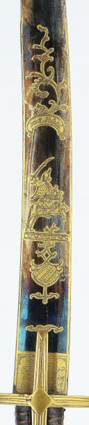 Sabre d'officier de hussards, garde à l'allemande, complet de son ceinturon, ayant appartenu au  lieutenant-colonel Louis-Dominique Éthis de Corny, Ancienne Monarchie, VERS 1783-1785. (5)