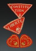 LOT DE QUATRE ORNEMENTS DE RETROUSSIS D'UNIFORME D'INFANTERIE, Révolution.