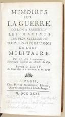 """Photo 1 :  PIERRE GANDOUIN - """" Mémoires sur la guerre où l'on a rassemblé les maximes les plus nécessaires dans les opérations de l'art militaire """" - Réédition de 1795 - 1736"""
