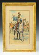 GAMBEY LÉON, AQUARELLE ORIGINALE : TROMPETTE DES CHEVAU-LÉGERS DE LA MAISON MILITAIRE DU ROI, RESTAURATION (1814-1816).