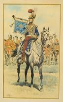 Photo 2 : GAMBEY LÉON, AQUARELLE ORIGINALE : TROMPETTE DES CHEVAU-LÉGERS DE LA MAISON MILITAIRE DU ROI, RESTAURATION (1814-1816).