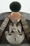 Shako de chasseur du 1er Régiment d'Infanterie Légère, modèle 1812, Premier Empire. (2)