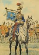 Photo 3 : GAMBEY LÉON, AQUARELLE ORIGINALE : TROMPETTE DES CHEVAU-LÉGERS DE LA MAISON MILITAIRE DU ROI, RESTAURATION (1814-1816).