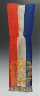 Photo 1 : FRAGMENT DE CRAVATE DE DRAPEAU DE GARDE NATIONALE OU DE DRAPEAU MUNICIPAL, SECOND EMPIRE.