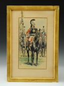 GAMBEY LÉON, AQUARELLE ORIGINALE : PORTE ÉTENDARD DE LA SECONDE COMPAGNIE DE MOUSQUETAIRES DE LA MAISON MILITAIRE DU ROI, RESTAURATION (1814-1816).