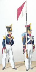 Photo 2 : 1828. Infanterie de Ligne. Capitaine, Sergent de Fusiliers Porte-Fanion du 3è Bataillon (38è Régiment).