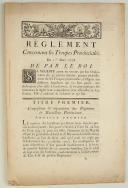 RÈGLEMENT concernant les Troupes Provinciales. Du 1er mars 1778. 31 pages (1)