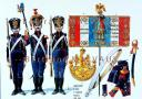 RIGO (ALBERT RIGONDAUD) : LE PLUMET PLANCHE 157 : ARTILLERIE A PIED 2e REGIMENT DRAPEAU 1813-1814.