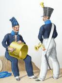 1824. Infanterie de Ligne. Tambour de Grenadiers,Clairon de Voltigeurs (56è Régiment).