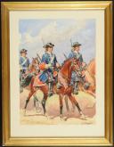 Photo 1 : ROUSSELOT LUCIEN - AQUARELLE ORIGINALE, GARDES DU CORPS DE LA MAISON MILITAIRE DU ROI, 1790-1792, ANCIENNE MONARCHIE.