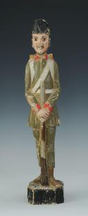 SOLDAT DE L'INFANTERIE AUTRICHIENNE : figurine en bois polychromé, XIXème siècle.