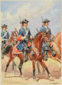 Photo 2 : ROUSSELOT LUCIEN - AQUARELLE ORIGINALE, GARDES DU CORPS DE LA MAISON MILITAIRE DU ROI, 1790-1792, ANCIENNE MONARCHIE.