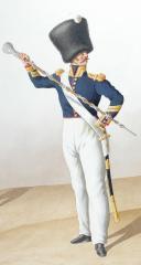 1822. Artillerie à Pied. Officier, Tambour-Major en petite tenue (2)