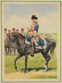 Photo 1 : ROUSSELOT LUCIEN - AQUARELLE ORIGINALE REPRÉSENTANT LE MARQUIS DE CREIL, CAPITAINE LIEUTENANT DES GRENADIERS À CHEVAL DE LA MAISON DU ROI, VERS 1735, ANCIENNE MONARCHIE.