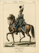GENTY : TROUPES FRANÇAISES, PLANCHE 14, GARDE ROYALE - 1er RÉGIMENT, CHASSEUR À CHEVAL, 1816.