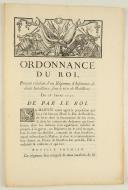ORDONNANCE DU ROI, portant création d'un Régiment d'Infanterie de deux bataillons, sous le titre de Boüillon. Du 18 janvier 1757. 4 pages (1)