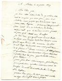 LETTRE DE PIERRE CAZALIS, 6ème régiment, 1er bataillon, compagnie des Voltigeurs à Mâcon, à M. BAJE, maître boulanger à Montpellier pour remettre à son père CAZALIS résidant à Cournonsec, 16 janvier 1809.