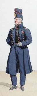 Photo 2 : 1816-1820. Génie. Lieutenant en Premier de Mineurs en grande tenue, Officier en petite tenue.