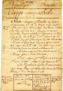 Photo 2 : CONGÉ ABSOLU DE LA RÉPUBLIQUE FRANÇAISE DONNÉ À JEAN-MARIE DUBUIS, daté du 16 Brumaire An 11, Révolution.