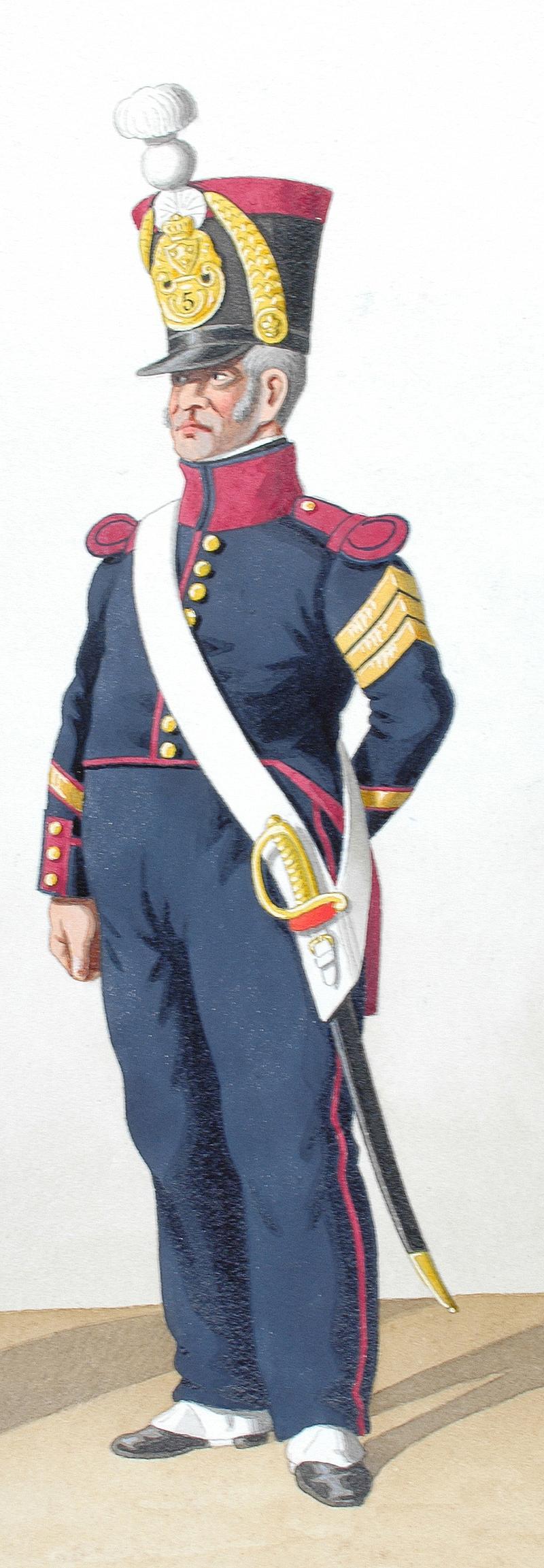 Confection d'une cravate de sabre briquet, qu'en pensez-vous? 1828-infanterie-de-ligne-adjudant-sous-officier-maitre-ouvrier-5e-regiment_2